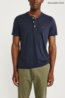 Abercrombie & Fitch Navy Short Sleeve Icon Henley T-Shirt