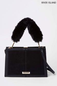 River Island Black Faux Fur Handle Frame Bag