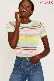 Oasis Rainbow Stripe Scallop Knit Top