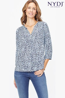 NYDJ Printed Pintuck Blouse