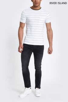 River Island Washed Black Fade Slim Jean