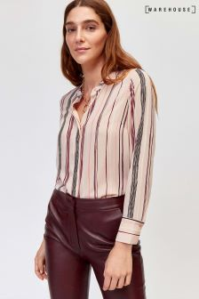 Warehouse Light Pink Drawn Stripe Button Blouse