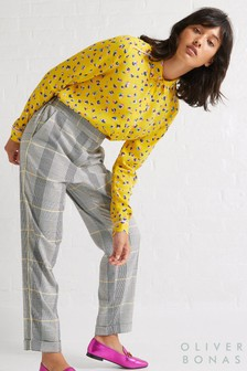 Oliver Bonas Grey Check Side Stripe Trouser