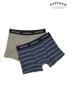 FatFace Navy Durham Stripe Boxer Two Pack