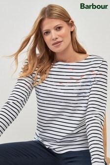 Barbour® White/Navy Breton Stripe Fish Print Top