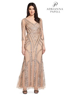 Adrianna Papell Nude Beaded Mesh Long Dress
