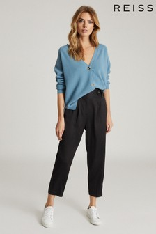 Reiss Black Stanton Cropped Tapered Trousers