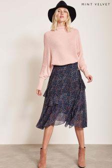 Mint Velvet Navy Daria Print Ruffle Skirt