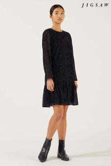 Jigsaw Black Velvet Devoré Flippy Hem Dress
