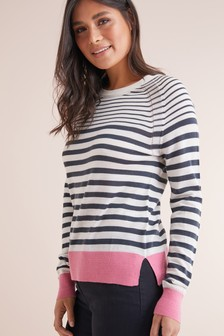 4ae11f3fc2 ... Navy · Pink Stripe · Rose · Merino Jumper