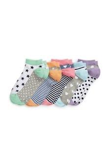Star/Heart Trainer Socks Five Pack