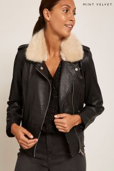 Mint Velvet Black Leather Biker
