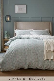 Set mit Bettbezug und Kissenbezug mit Ginkgoblattmotiv, 2er-Pack