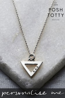 Personalised Geometric Triangle Charm Necklace by Posh Totty Designs