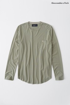 Abercrombie & Fitch Green Long Sleeve Pocket T-Shirt