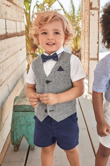 Waistcoat, Shirt, Shorts And Bow Tie Set (3mths-7yrs)