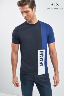 Armani Exchange Navy Colourblock Logo T-Shirt