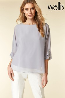 Wallis Grey Embellished Cuff Overlayer Top
