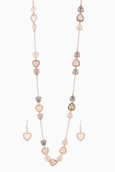 Heart Detail Rope Necklace And Earrings Set
