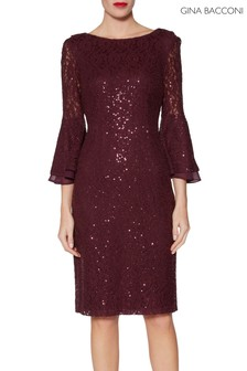 Gina Bacconi Red Amina Sequin Dress