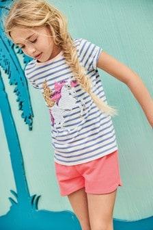 Koszulka z cekinowym jednorożcem Flippy (3-16 lat)