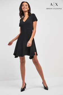 Armani Exchange Black Fit And Flare Dress