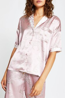 River Island Cream Dark Tiger Print Pyjama Shirt