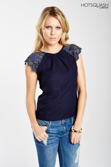 HotSquash Navy Lace Sleeved Crepe Top