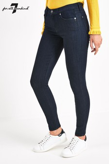 7 For All Mankind Indigo Mid Rise Skinny Jeans