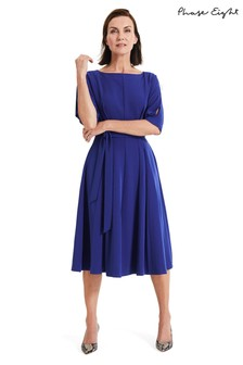 Phase Eight Blue Cleo Tie Waist Dress