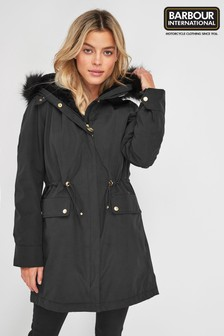 Barbour International Black Waterproof Clutch Parka