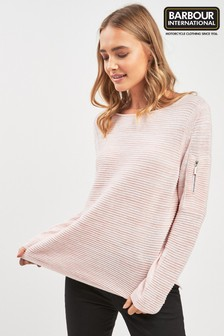 Barbour® International Pale Pink Ribbed Jumper