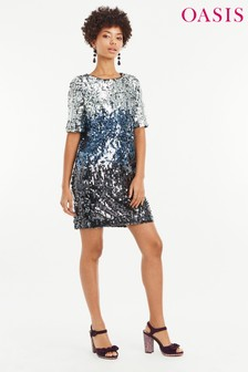 Oasis Silver Ombre Sequin Shift Dress
