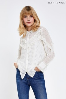 Harpenne Cream Ruffle Detail Embellished Blouse