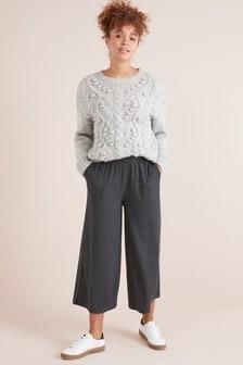 Pantalon jupe-culotte côtelé