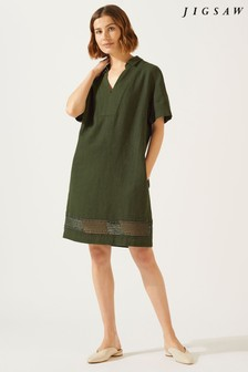 Jigsaw Green Linen Embroidery Detail Dress