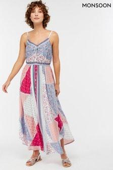 Vestido con bajo estilo pañuelo multicolor Jasmin de Monsoon