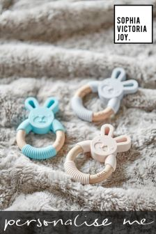 Personalised Bunny Ring Teether Toy by Sophia Victoria Joy