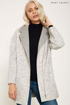 Mint Velvet Grey Salt And Pepper Coat
