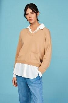 Mock Shirt Layer Jumper