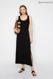 Warehouse Black Cami Side Button Maxi Dress