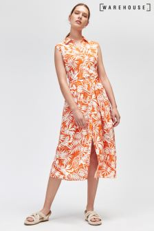 Warehouse Orange Sahara Print Sleeveless Shirt Dress