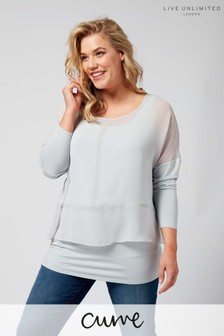 Live Unlimited Pale Blue Overlayer Top With Stitch Detail