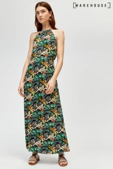 Warehouse Black Sahara Print Maxi Dress