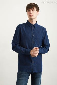French Connection Dark Indigo Dotted Jacquard Shirt