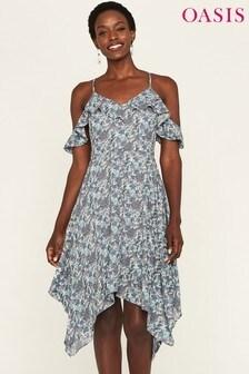 Oasis Blue Paisley Hanky Hem Cami Dress