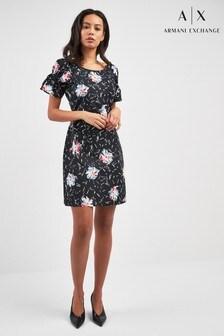 Черное платье со сплошным принтом Armani Exchange