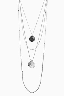 Four Layer Bead And Chain Long Necklace