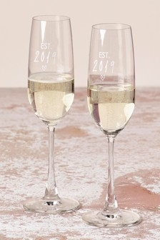 Set of 2 Est in 2019 Champagne Flutes