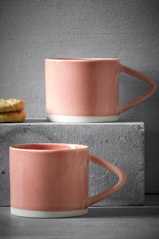 Set of 2 Pink Reactive Mugs